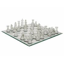 Jogo De Xadrez Tabuleiro Vidro Transparente Fosco Game Peças