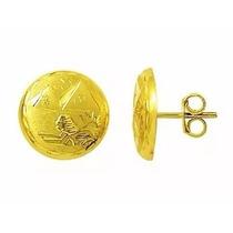 Brinco Escrava Egito Trabalhado 1.5 Cm Ouro 18k Frete Gratis