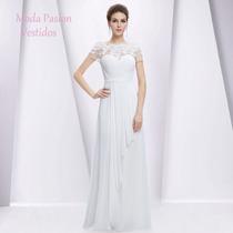 Increible Vestido Novia Gasa Con Manguita Encaje Moda Pasión