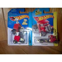 Snoopy Y Fast Bed Hauler Grua Plana Hot Wheels Set 2 Piezas