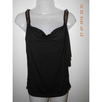 Elegante Y Sofisticada Blusa, En Color Negro, Talla S