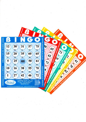 1 paquete de 100 cartas para bingo