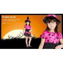 Disfraz Halloween Bruja Rosa Fluo Naranja Con Gorro Local