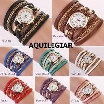 Reloj Pulsera De Mujer, Correa Y Cadenas, Exclusivo, Colores