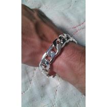 Pulseira Prata Grumet Grossa 2cm, Fecho Gaveta 925 Banhada.