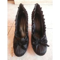 Zapatos Negros Con Adornos De Cinta. Talla 8.5us
