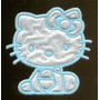 Hello Kitty Azul Patch Insignia Bordado E Termocolante