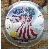 Moneda Estados Unidos 1 Onza Plata 2001 Coloreada