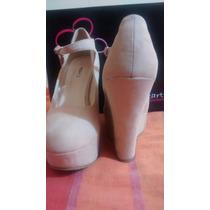 Zapato Plataforma #40 Gamuza Nuevos Nude Hearts Collection
