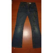 Pantalon De Jean Azul Con Flores Para Chicas Importada