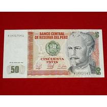Antiguo Billete 50 Cincuenta Intis 1987 Perú Nicolás Piérola