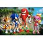 Painel Em Lona Tema Sonic Para Aniversario Fundo Bolo