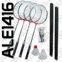 Juego De Badminton Raquetas + Plumas + Red + Soporte + Bolso