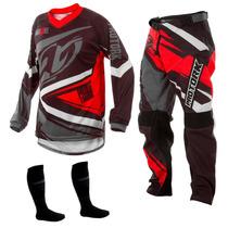 Conjunto Calça Camisa Insane 4 Vermelho Motocross Pro Tork