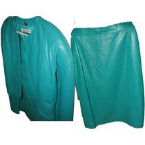 Traje De Piel (saco Y Falda) Color Verde Talla 10 Adulto