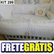 Kit Berço Personalizado 10 Pçs Provençal Branco Com Dourado