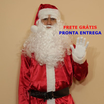 Roupa De Papai Noel Extra Grande Frete Grátis Barba Luxo G5