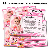 Minnie Bebé 20 Invitaciones Cumple Y Cartel Regalo!!!