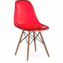 Cadeira Charles Eames Em Policarbonato Vermelha Translucida