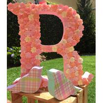 Letra Decorativa Con Flores De Papel Adorno Mesa De Postres