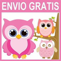 Kit Imprimible Lechuzas Buhos Invitaciones Baby Shower Cajas