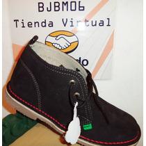 Botin Kickers Talla 37 Cuero Gamuza Unisex Negro 23cm