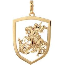 Pingente De São Jorge Em Ouro 18k. Modelo Vazado. Acabament