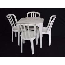 Jogo De Mesa Com 4 Cadeiras Brancas Plástico Empilháveis