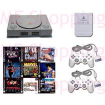 Playstation 1 Ps1 Fat + 2 Controles + 5 Jogos + Av + Cabo
