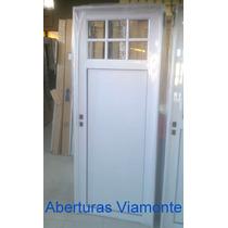 Puerta Aluminio Blanco 1/4 Vidrio Repartido Reforzada
