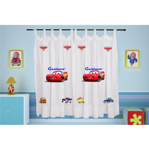 Cortina Infantil Carros Disney Personalizada Com Nome