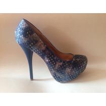 Zapato Fiesta Brillos Azul Plataforma Numero 38