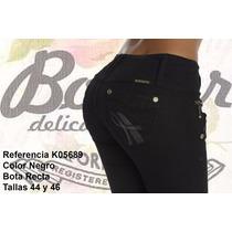 Jeans Colombianos Levanta Cola Color Negro / Grupoborder