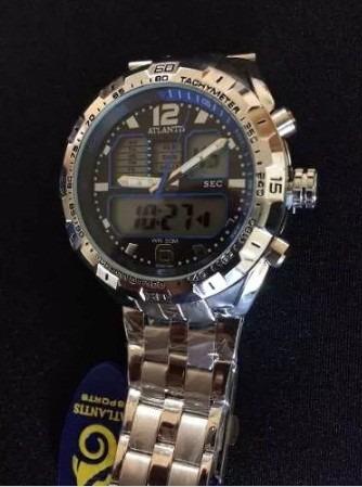 708cf55cdca Relógio Atlantis G3225 Prata azul - R  88