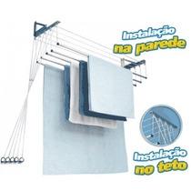 Varal Individual Teto/parede 5 Varetas Alumínio -120cm - 2un