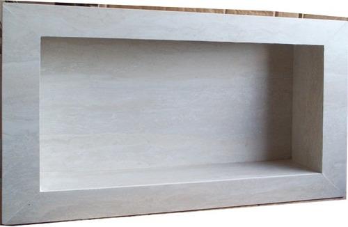 Nicho Para Banheiro Porcelanato Travertino Branco  Promoção  R$ 149,00 em M -> Nicho Para Banheiro Comprar