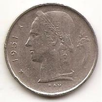 Moneda Belgica Belgie 1 Franco Año1951 Km#143.1