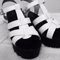 Sandalias Gotta 38 Blancas Con Negro Plataforma