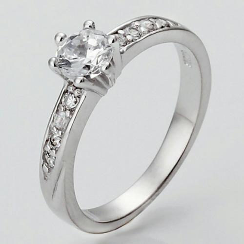 Elegante anillo de compromiso en oro blanco plata for Precio rodiar anillo oro blanco