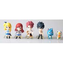 Kit C/ 6 Miniaturas Bonecos Fairy Tail C/ Base De Apoio: 8cm