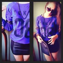 Poleras Sweatshirts Franela Azulino C/cuero Talla Standard
