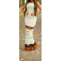 Vestido Verão 2016 Lindo Crochê Branco Envio Imediato