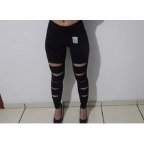 Legging De Cotton Rasgada (kit Com 2 Calças) Barato