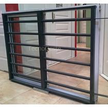 Ventana Aluminio Blanco 150x110 + Reja Tubos Horizontales