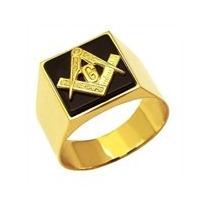 Anel Em Ouro 18k 750 Amarelo E Onix Maçonaria - Faf33 - 7.5g