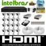 Kit Cftv 16 Cameras 1200linhas Dvr Intelbras 1016g2+hd 1tb