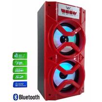 Caixa Som Bluetooth Amplificada Bateria Microfone Usb Radio