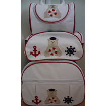 Kit Mala E Bolsa Maternidade 3 Pç Branco Marinheiro Rodinhas