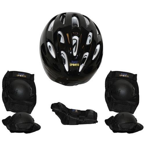 63dbdf5fe Kit Proteção 7 Itens Skate Rollers Bicicleta Patins (preto)g - R  64 ...