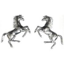 Emblema Adesivo Cavalo Ferrari Pequeno Cromado- Par